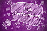 High Performance - Doodle Illustration on Purple Chalkboard.