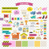 Cat and care vector cartoon element illustration and pattern.