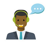 Call center avatar in a flat style with a headset