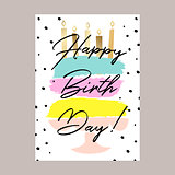 Happy birthday cake card design.