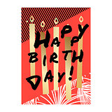 Happy birthday card design with gold candles.