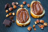 Two bread slices with chocolate hazelnut spread
