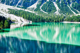 Braies lake landscape in summer