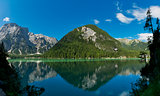 Braies lake in a clear day of summer