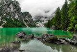 Lake of Braies in cloudy day