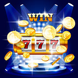 Big win or jackpot - slot machine and coins, casino concert