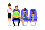 Happy cartoon family travel. Travelling people passengers and on board of the airplane. Man woman ang girl sit in an armchair. Father with book, gaughter with gadget.
