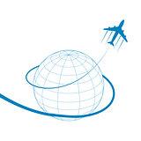plane and globe