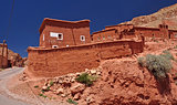 Clay houses in the High Atlas Mountains in Morocco, Africa.
