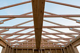 Roof Support Beam in New Home Construction