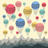 Background of colourful hot air balloons and mountains. Cappadocias