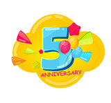Cute Cartoon Template 5 Years Anniversary Vector Illustration