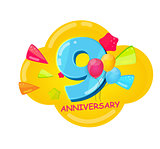 Cute Cartoon Template 9 Years Anniversary Vector Illustration