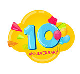Cute Cartoon Template 10 Years Anniversary Vector Illustration