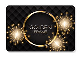 Abstract Card with Golden Frame and Bengal Lights Vector Illustration