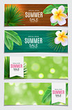 Abstract Vector Illustration Summer Sale Card Set  Background