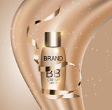 BB Cream Bottle Template for Ads or Magazine Background. 3D Real