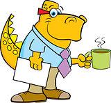 Cartoon Dinosaur Holding a Coffee Cup