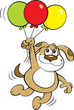 Cartoon Dog Holding Balloons