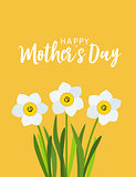 Happy Mother's day greeting card with Flowers background. Vector Illustration