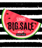 Abstract Summer Sale Background with Watermelon. Vector Illustra