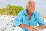 Portrait of Attractive Handsome Senior Man on Beach