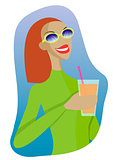 Vector sexy girl in a ski suit with a cocktail in hand.
