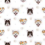 Cute dogs animal seamless vector pattern.