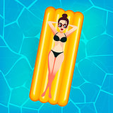 Cartoon sweet girl in sun glasses is floating on an inflatable mattress in the pool at private villa. Young woman enjoying suntan. Flat lady in bikini on the pink air mattress. Vacation or summer holidays concept.