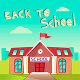 Back to School concept. Building schoolhouse flat illustration. Education poster. Elementary, high