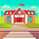Elementary school flat buildung. Back to school cartoon background. Crosswalk before schoolhouse