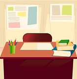 Student table with textbooks, copybook, pensils in elementary school classroom background. Front view. Interior of school class room. Back to school backdrop supplies. Flat concept. Empty space for text.