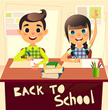 Pupils during classroom at the elementary school. Schoolgirl raising her hand. Schoolboy writes in notebook. Children at the desk at the lesson. Back to school concept flat illustration.
