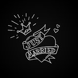 Old school tattoo heart with crown and ribbon with inscription Just Married. Vintage rebel wedding design. Vector illustration.