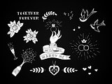Set of hand drawn traditional tattoo elements. Vintage vector design for stickers ar prints.