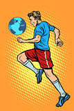World championship. football player with planet Earth like a soc