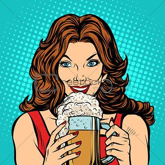 Beautiful woman with a mug of beer