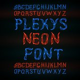Abstract  red plexus neon font.