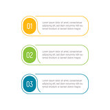 Three steps, infographic elements, step button, vector illustration, web template. App interface element.