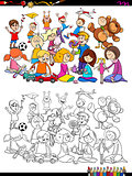 playful children characters group coloring book