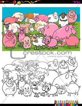 pigs and sheep characters group color book