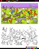 donkeys and chickens characters color book