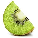 Ripe slice of kiwi fruit stand isolated on white