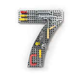 Number 7 seven. Alphabet from the tools on the metal pegboard is