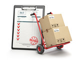 Delivery service concept. Hand truck with parcel carton cardboar