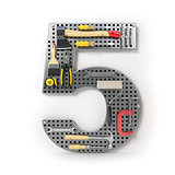 Number 5 five. Alphabet from the tools on the metal pegboard iso