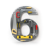 Number 6 six. Alphabet from the tools on the metal pegboard isol