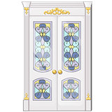 Entrance door with exquisite ornamentation. Vector illustration.