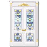 Entrance door with exquisite ornamentation. Vector illustration.