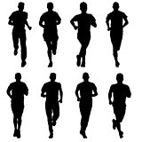 Set of silhouettes. Runners on sprint, man
